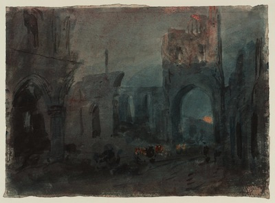 The Ruins of Kirkstall Abbey at Night c.1799 by Joseph Mallord William Turner 1775-1851