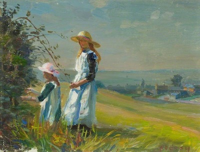 Gash, Walter Bonner, 1869-1928; Two Girls Picking Blackberries*