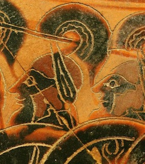 Running soldiers, vase, 6th century BC Attic (Greek) (detail)