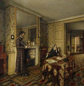 Tait, Robert Scott, c.1816-1897; 'A Chelsea Interior' (The Carlyles at Home with Their Dog, 'Nero')