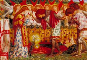 How Sir Galahad, Sir Bors and Sir Percival Were Fed with the Sanct Grael; but Sir Percival's Sister Died by the Way 1864 by Dante Gabriel Rossetti 1828-1882