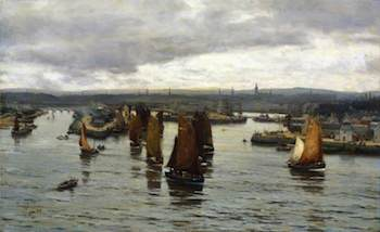 Farquharson, David, 1839-1907; The Herring Fleet Leaving the Dee, Aberdeen