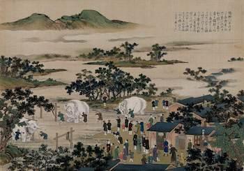 ; Chinese People Washing Three Large, White Elephants