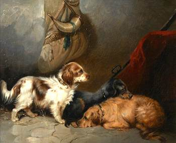 Armfield, George, 1810-1893; Spaniels in a Barn Interior