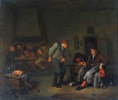 van Heemskerck II, Egbert, 1634/1635-1704; Boors Carousing and Playing Cards