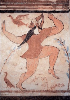 Phersu_from_the_painted_walls_of_the_tomb_of_the_Augurs_at_Tarquinia,_525-500_BCE,_Etruscan